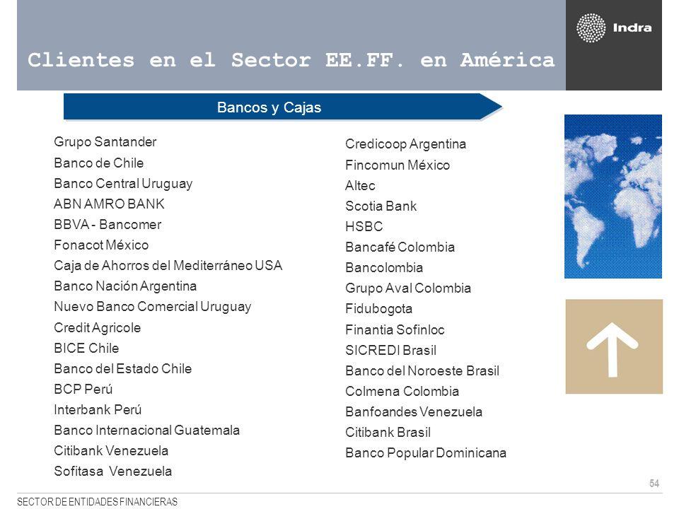 54 SECTOR DE ENTIDADES FINANCIERAS Clientes en el Sector EE.FF. en América Bancos y Cajas <Grupo Santander <Banco de Chile <Banco Central Uruguay <ABN