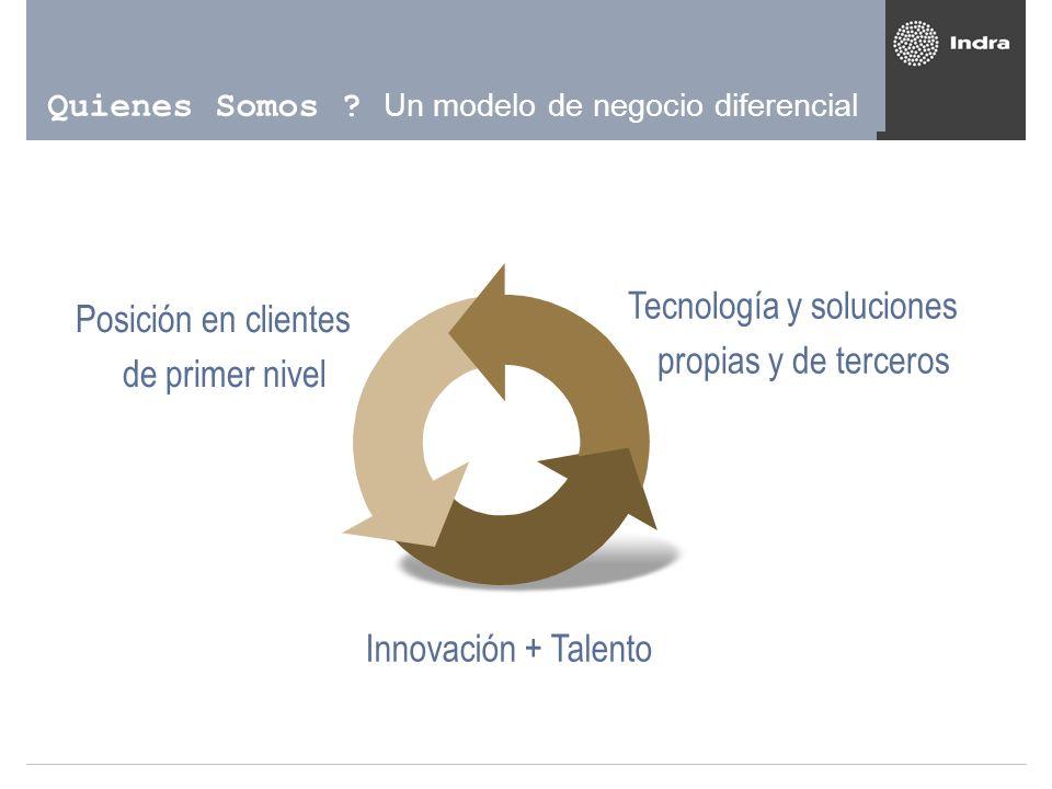 Quienes Somos ? Un modelo de negocio diferencial Innovación + Talento Tecnología y soluciones propias y de terceros Posición en clientes de primer niv