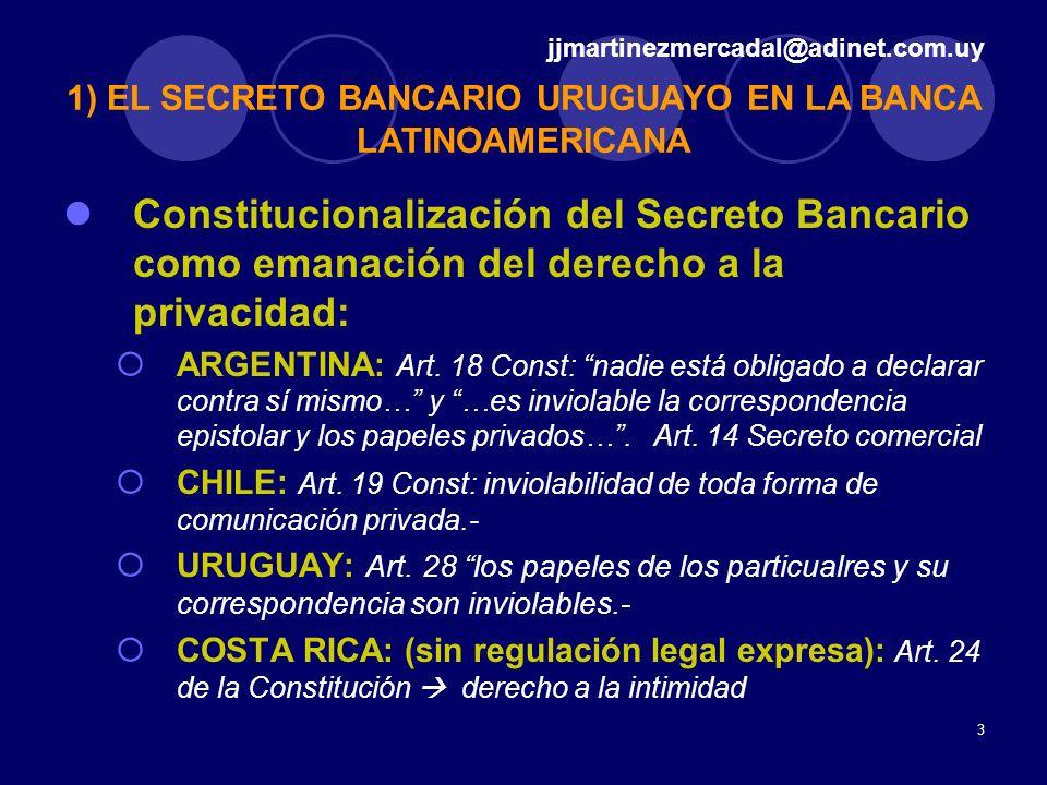 3 Constitucionalización del Secreto Bancario como emanación del derecho a la privacidad: ARGENTINA: Art. 18 Const: nadie está obligado a declarar cont
