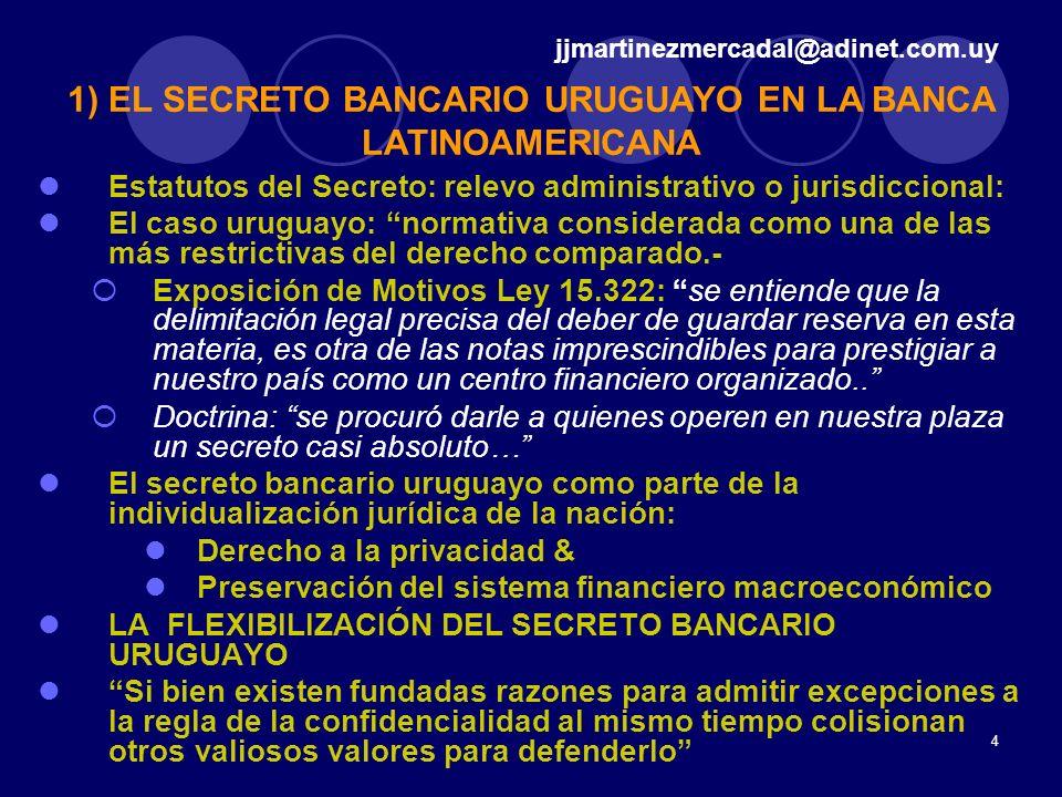 4 Estatutos del Secreto: relevo administrativo o jurisdiccional: El caso uruguayo: normativa considerada como una de las más restrictivas del derecho