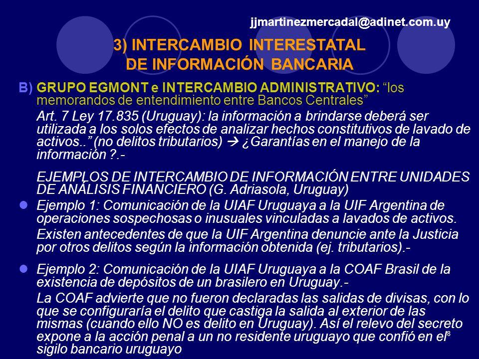 8 B)GRUPO EGMONT e INTERCAMBIO ADMINISTRATIVO: los memorandos de entendimiento entre Bancos Centrales Art. 7 Ley 17.835 (Uruguay): la información a br