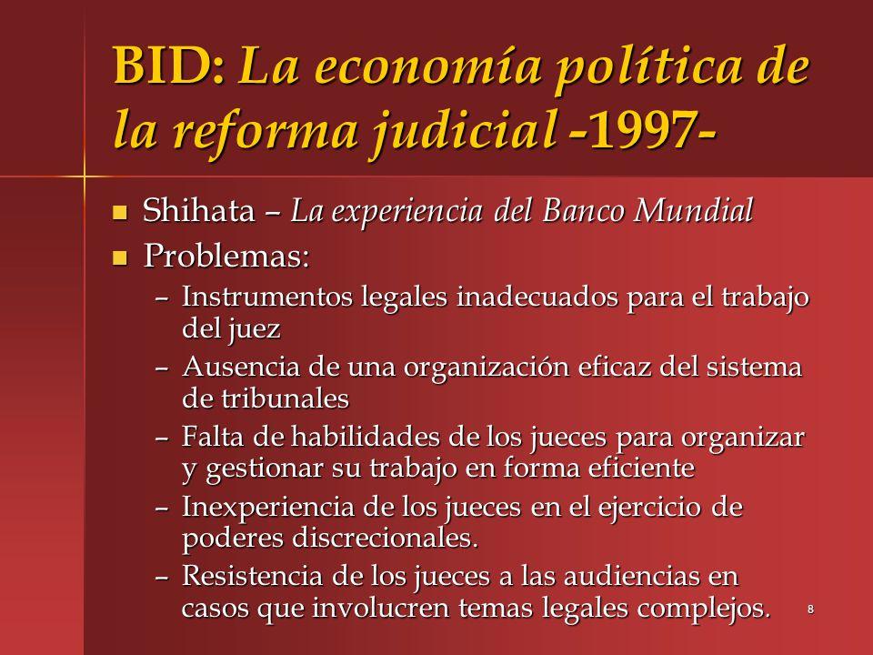 9 BID: La economía política de la reforma judicial - 1997- Carrillo- El BID y La reforma de los sistemas de justicia – – Hay que destacar la escasa preocupación, centenaria ya, en el desarrollo del sistema jurídico en general y del sistema legal en particular, alrededor de la tendencia de privar al poder judicial de competencias en conflictos socialmente relevantes.