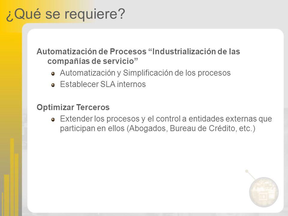 ¿Qué se requiere? Automatización de Procesos Industrialización de las compañías de servicio Automatización y Simplificación de los procesos Establecer