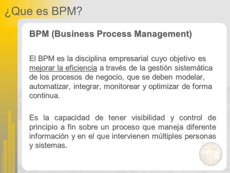 ¿Que es BPM? BPM (Business Process Management) El BPM es la disciplina empresarial cuyo objetivo es mejorar la eficiencia a través de la gestión siste