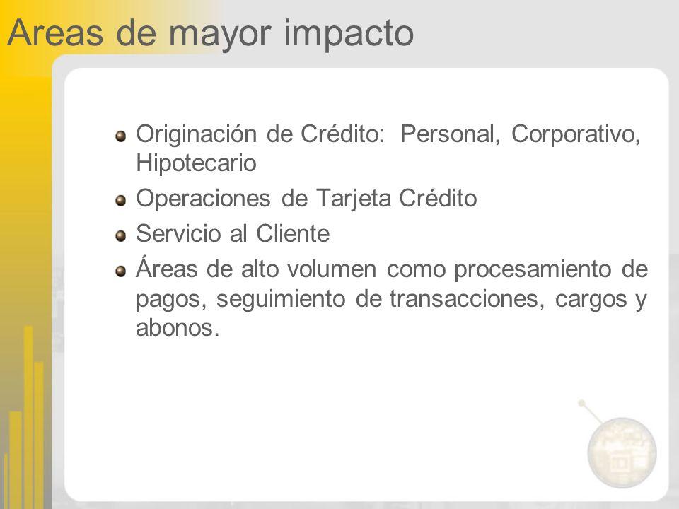 Areas de mayor impacto Originación de Crédito: Personal, Corporativo, Hipotecario Operaciones de Tarjeta Crédito Servicio al Cliente Áreas de alto vol