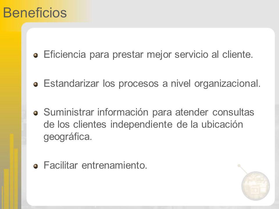 Beneficios Eficiencia para prestar mejor servicio al cliente. Estandarizar los procesos a nivel organizacional. Suministrar información para atender c