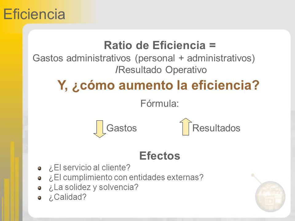 Eficiencia Ratio de Eficiencia = Gastos administrativos (personal + administrativos) /Resultado Operativo Fórmula: ResultadosGastos Y, ¿cómo aumento l