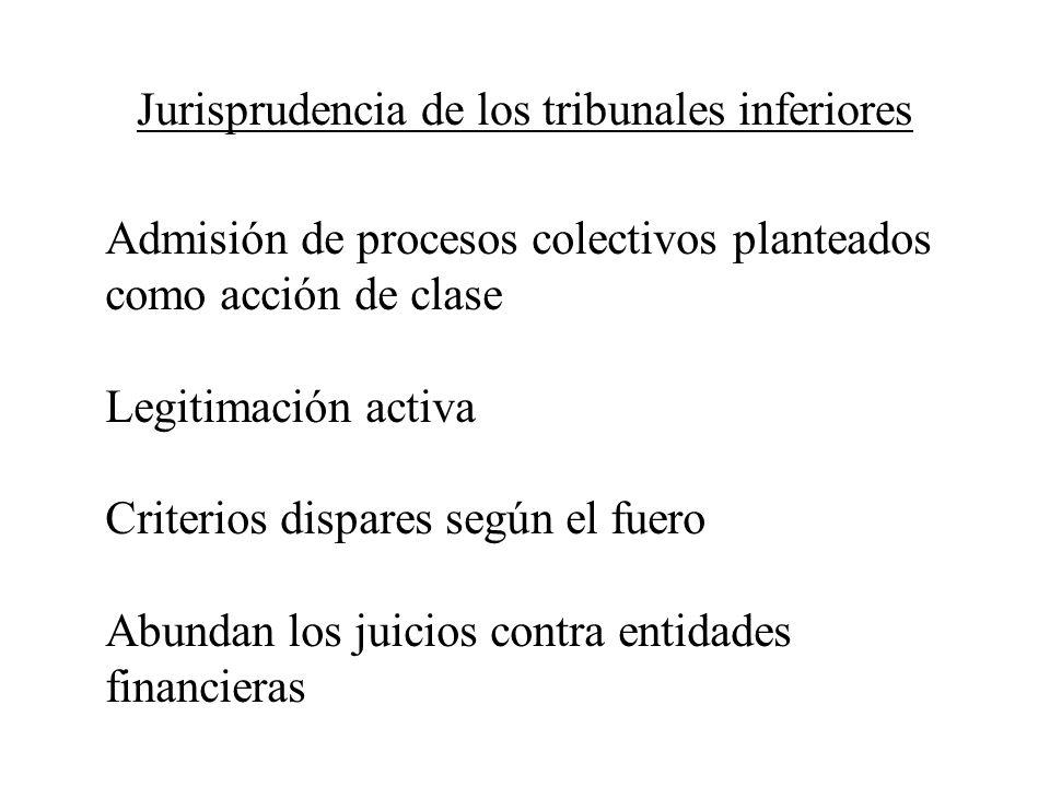 Jurisprudencia de los tribunales inferiores Admisión de procesos colectivos planteados como acción de clase Legitimación activa Criterios dispares seg
