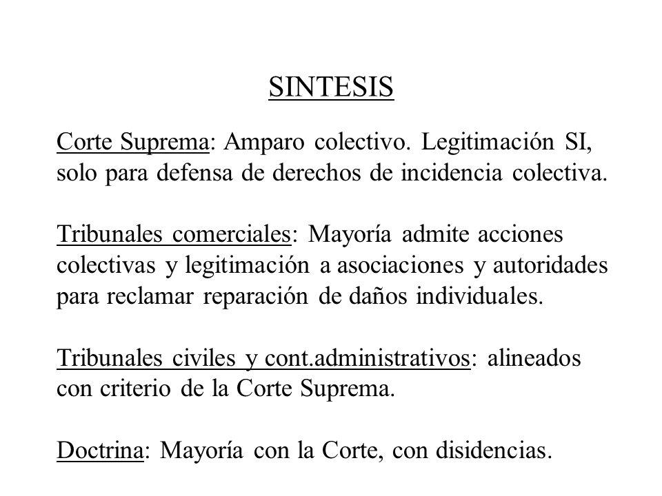 SINTESIS Corte Suprema: Amparo colectivo. Legitimación SI, solo para defensa de derechos de incidencia colectiva. Tribunales comerciales: Mayoría admi