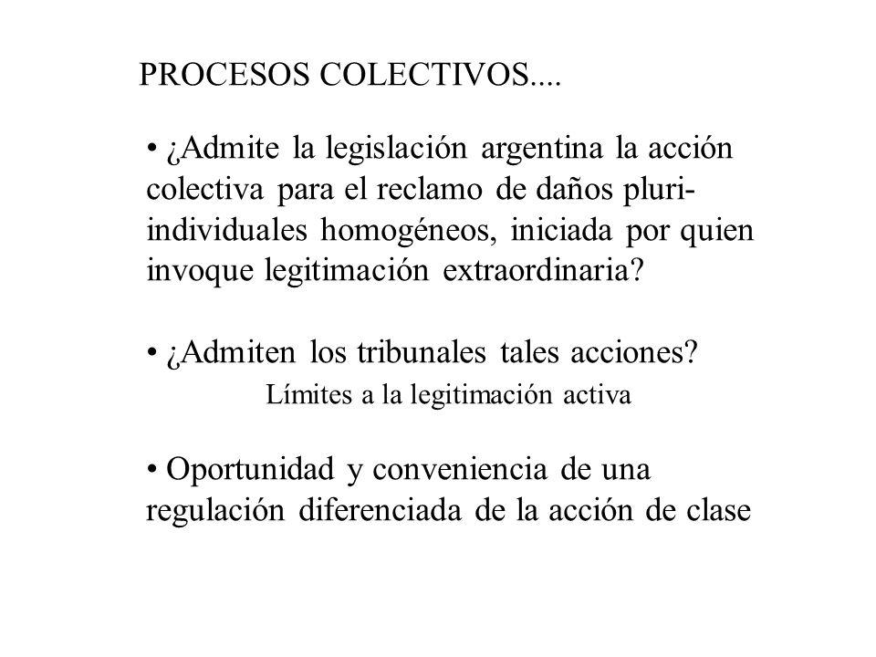 PROCESOS COLECTIVOS.... ¿Admite la legislación argentina la acción colectiva para el reclamo de daños pluri- individuales homogéneos, iniciada por qui