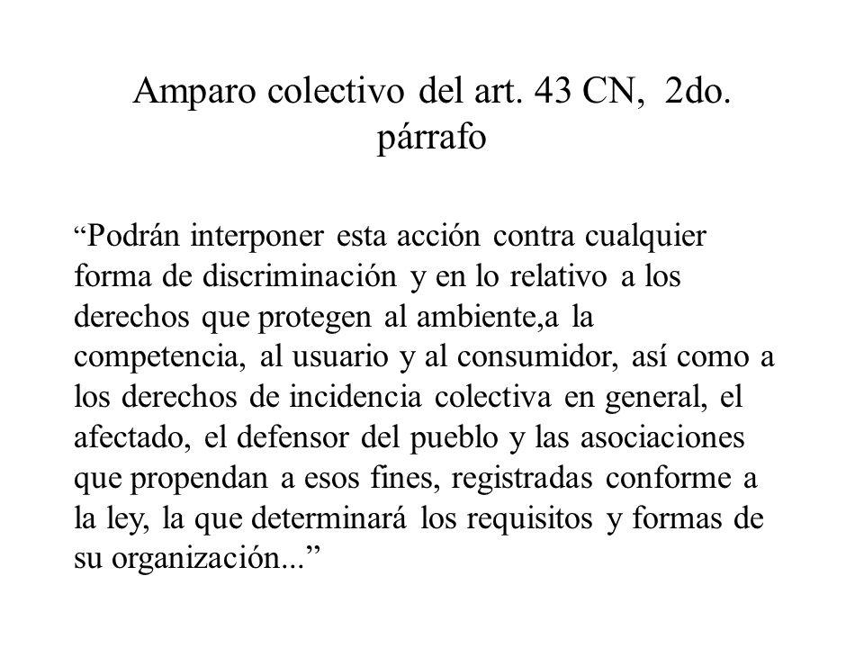 Amparo colectivo del art. 43 CN, 2do. párrafo Podrán interponer esta acción contra cualquier forma de discriminación y en lo relativo a los derechos q