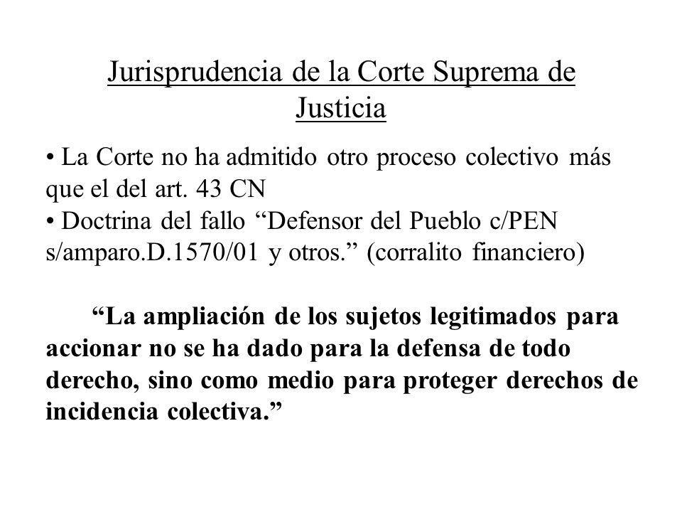 Jurisprudencia de la Corte Suprema de Justicia La Corte no ha admitido otro proceso colectivo más que el del art. 43 CN Doctrina del fallo Defensor de