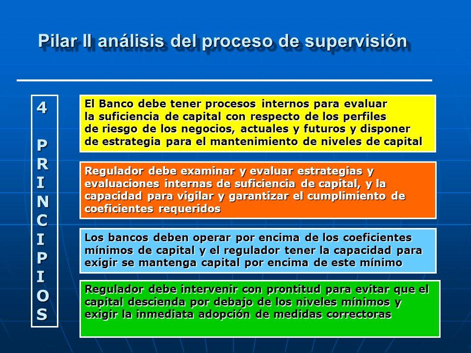 Pilar II análisis del proceso de supervisión 4 PRINCIPIOS El Banco debe tener procesos internos para evaluar la suficiencia de capital con respecto de