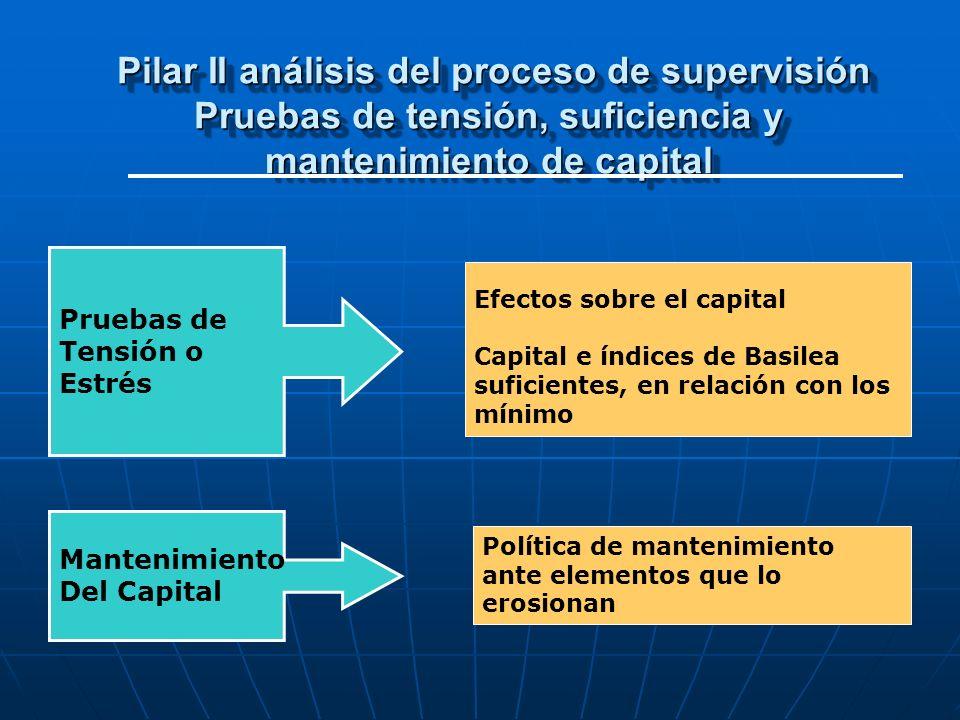 Pilar II análisis del proceso de supervisión Pruebas de tensión, suficiencia y mantenimiento de capital Pilar II análisis del proceso de supervisión P