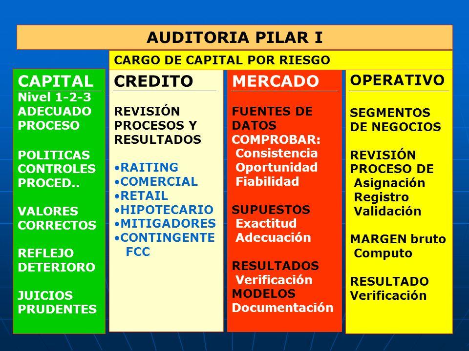 AUDITORIA PILAR I CAPITAL Nivel 1-2-3 ADECUADO PROCESO POLITICAS CONTROLES PROCED.. VALORES CORRECTOS REFLEJO DETERIORO JUICIOS PRUDENTES CREDITO REVI