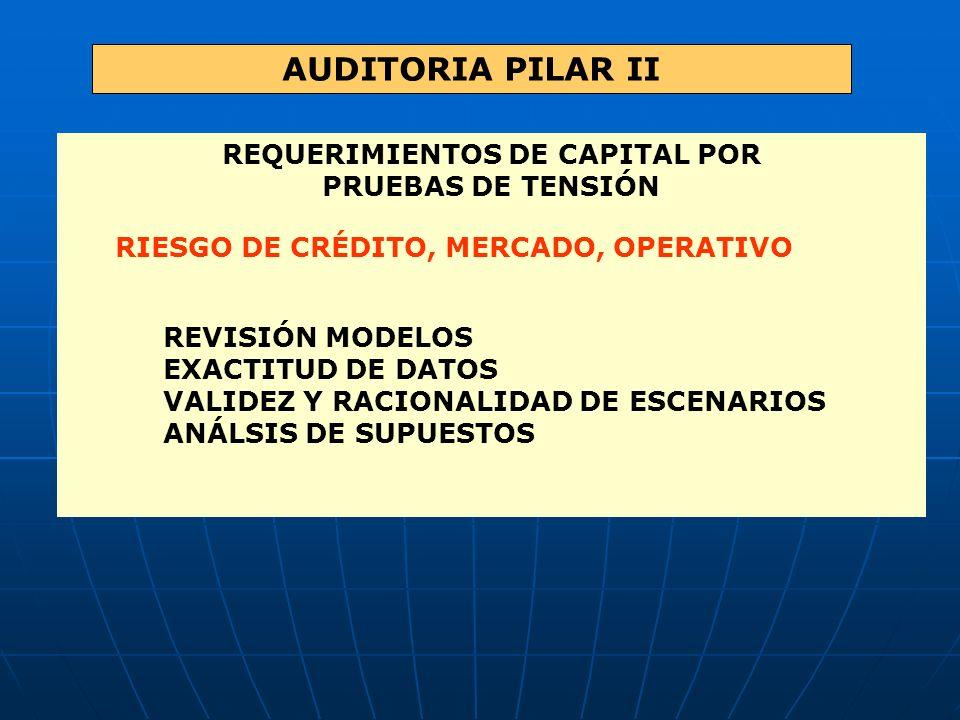AUDITORIA PILAR II REQUERIMIENTOS DE CAPITAL POR PRUEBAS DE TENSIÓN RIESGO DE CRÉDITO, MERCADO, OPERATIVO REVISIÓN MODELOS EXACTITUD DE DATOS VALIDEZ