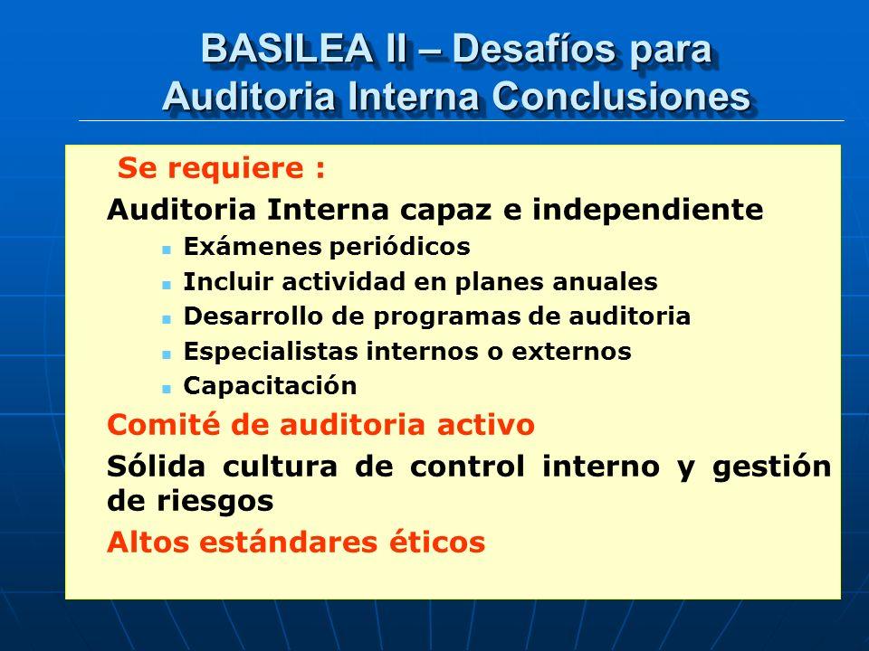 BASILEA II – Desafíos para Auditoria Interna Conclusiones Se requiere : Auditoria Interna capaz e independiente Exámenes periódicos Incluir actividad