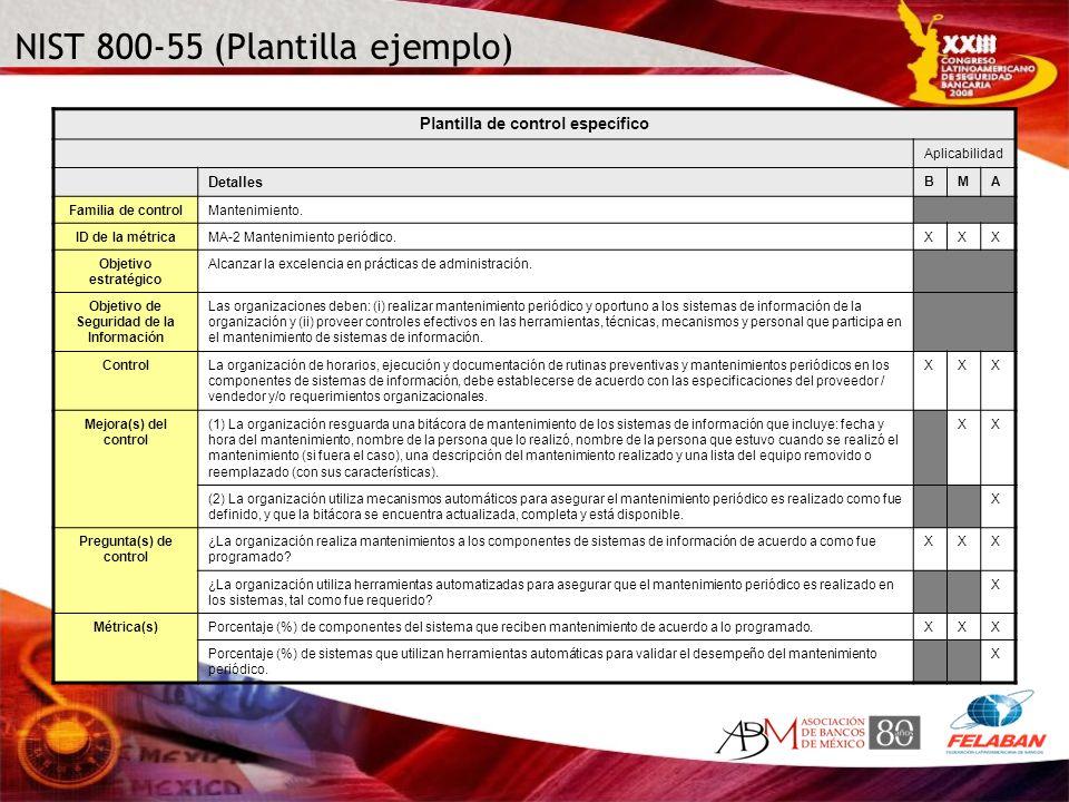 NIST 800-55 (Plantilla ejemplo) Plantilla de control específico Aplicabilidad Detalles BMA Familia de controlMantenimiento. ID de la métricaMA-2 Mante