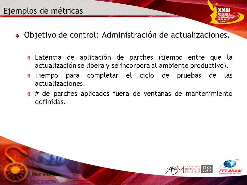 Ejemplos de métricas Objetivo de control: Administración de actualizaciones. Latencia de aplicación de parches (tiempo entre que la actualización se l