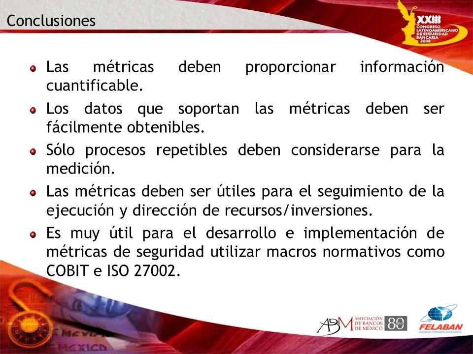 Conclusiones Las métricas deben proporcionar información cuantificable. Los datos que soportan las métricas deben ser fácilmente obtenibles. Sólo proc