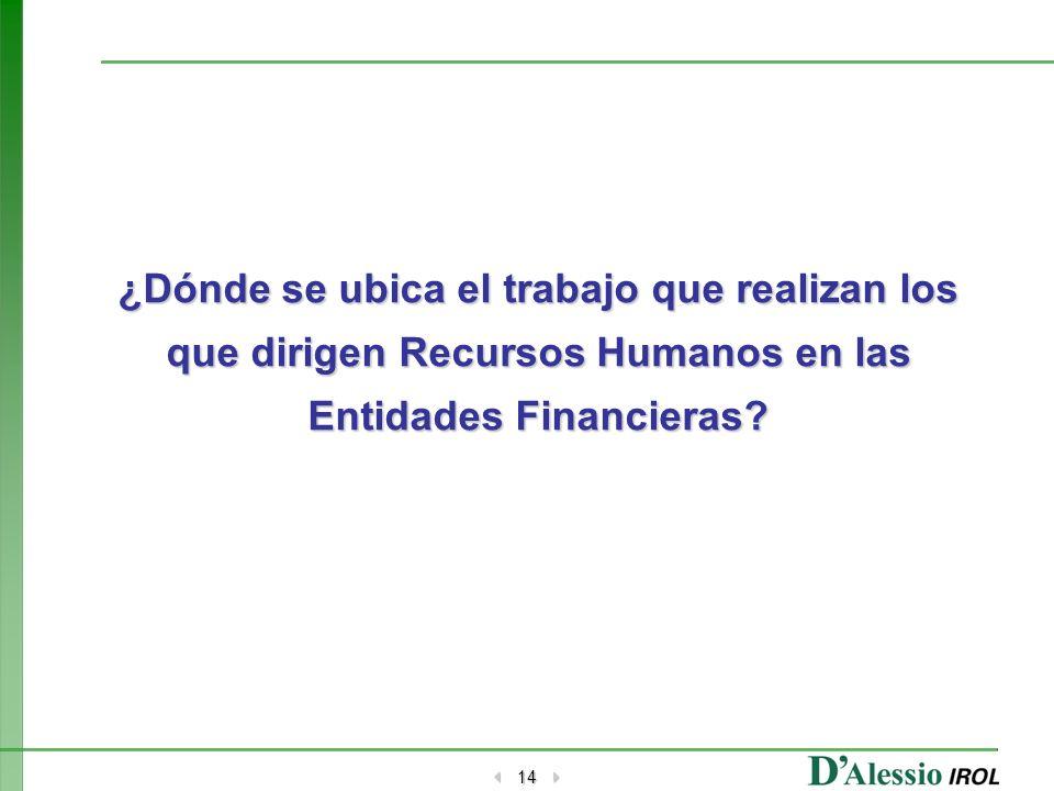 14 ¿Dónde se ubica el trabajo que realizan los que dirigen Recursos Humanos en las Entidades Financieras
