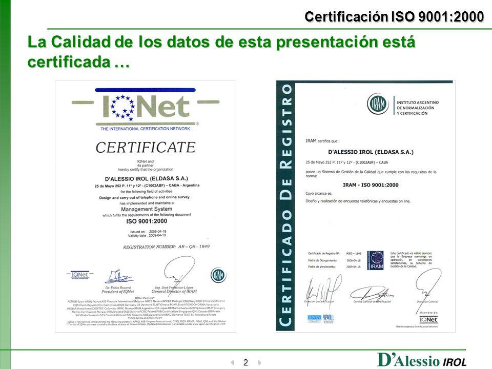 2 Certificación ISO 9001:2000 La Calidad de los datos de esta presentación está certificada …