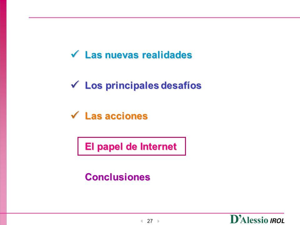 27 Las nuevas realidades Los principales desafíos Las acciones El papel de Internet Conclusiones