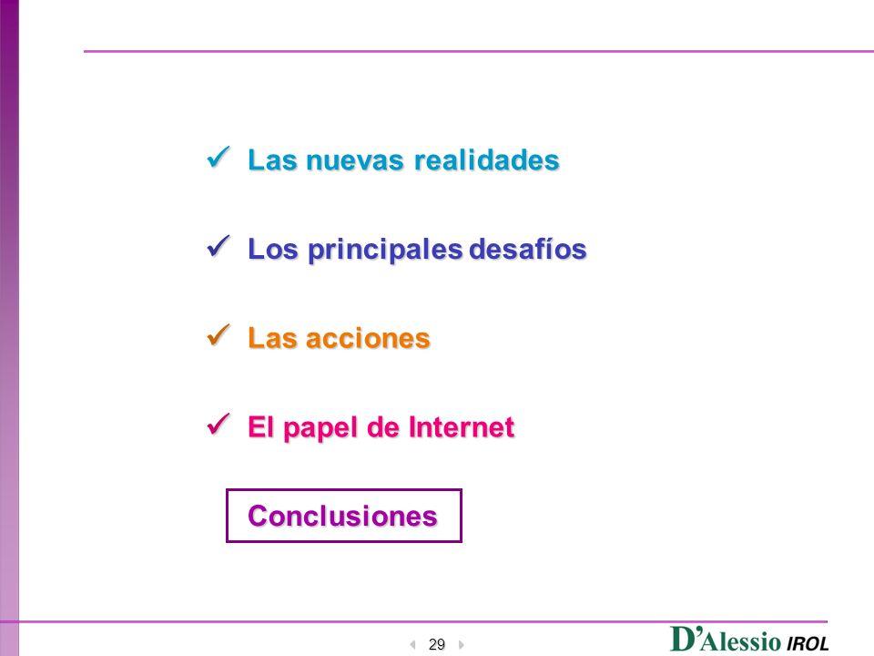 29 Las nuevas realidades Los principales desafíos Las acciones El papel de Internet Conclusiones
