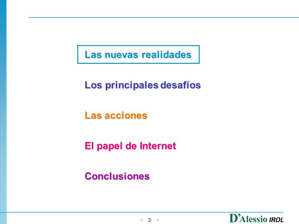 3 Las nuevas realidades Los principales desafíos Las acciones El papel de Internet Conclusiones