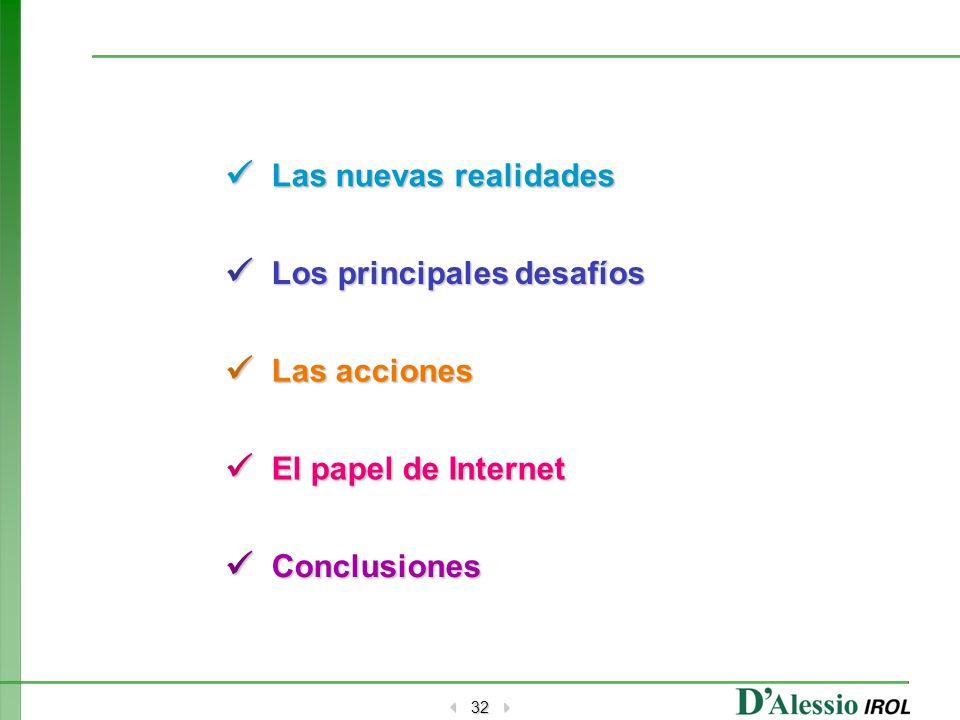 32 Las nuevas realidades Los principales desafíos Las acciones El papel de Internet Conclusiones