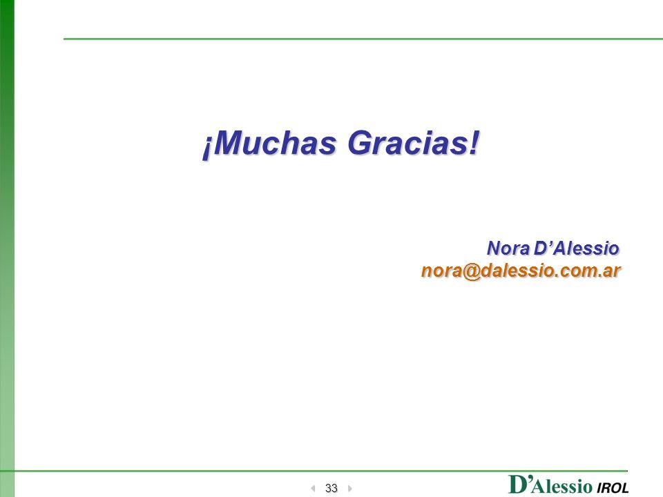 33 ¡Muchas Gracias! Nora DAlessio nora@dalessio.com.ar