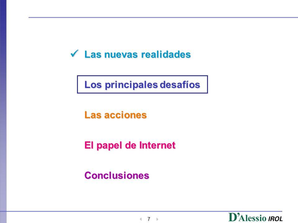 7 Las nuevas realidades Los principales desafíos Las acciones El papel de Internet Conclusiones