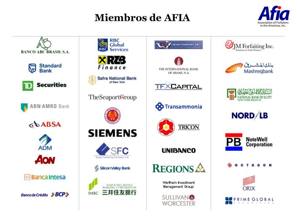 40.7% 3.2% 14.9% 3.1% 31.4% 6.7% Asia-Australia EEUU-Canada America Latina Africa Europa Medio Oriente Distribución de Riesgos Mercado de Forfaiting