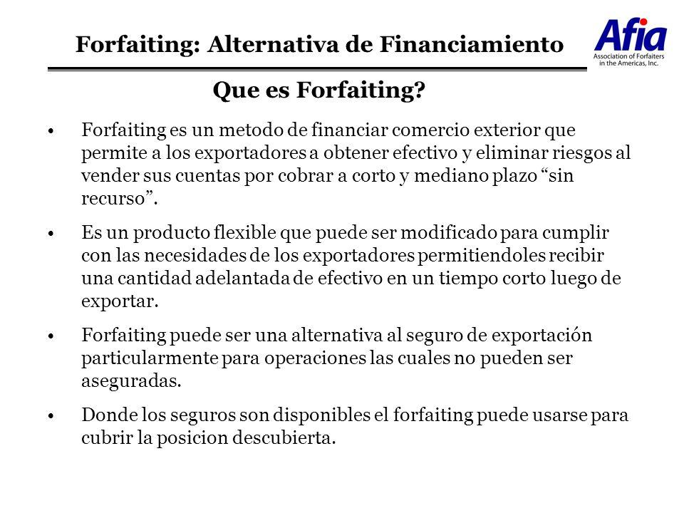 Forfaiting: Estructura Potencial EXPORTADOR BANCO IMPORTADOR FORFAITER Mercadería Notas Aceptadas Efectivo Contrato de Forfaiting Contrato de Forfaiting Efectivo