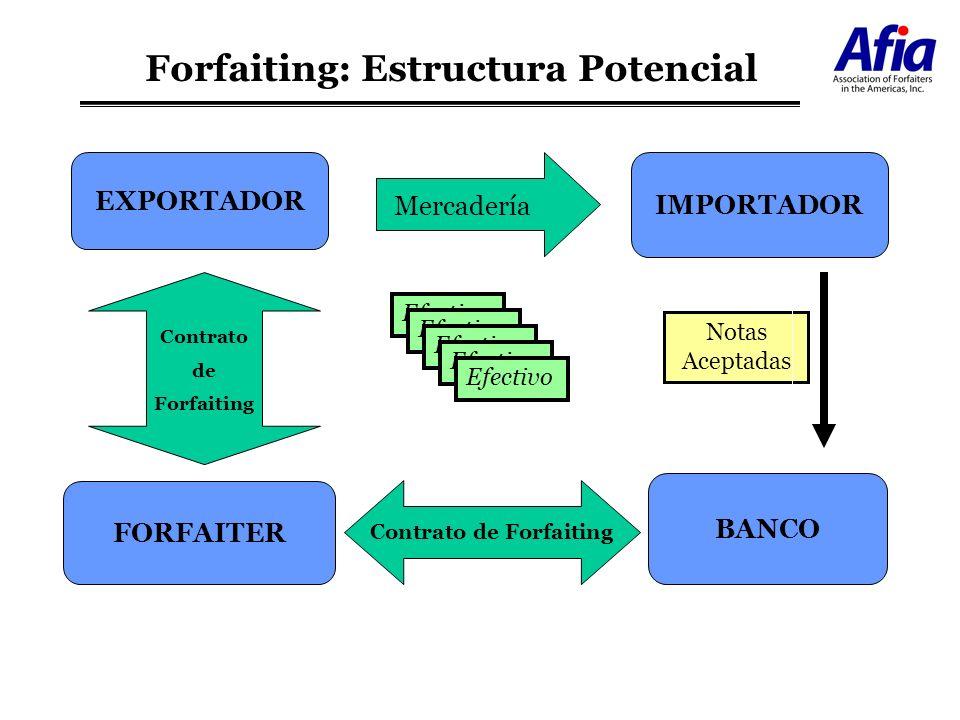 Forfaiting: Estructura Potencial EXPORTADOR BANCO IMPORTADOR FORFAITER Mercadería Notas Aceptadas Efectivo Contrato de Forfaiting Contrato de Forfaiti