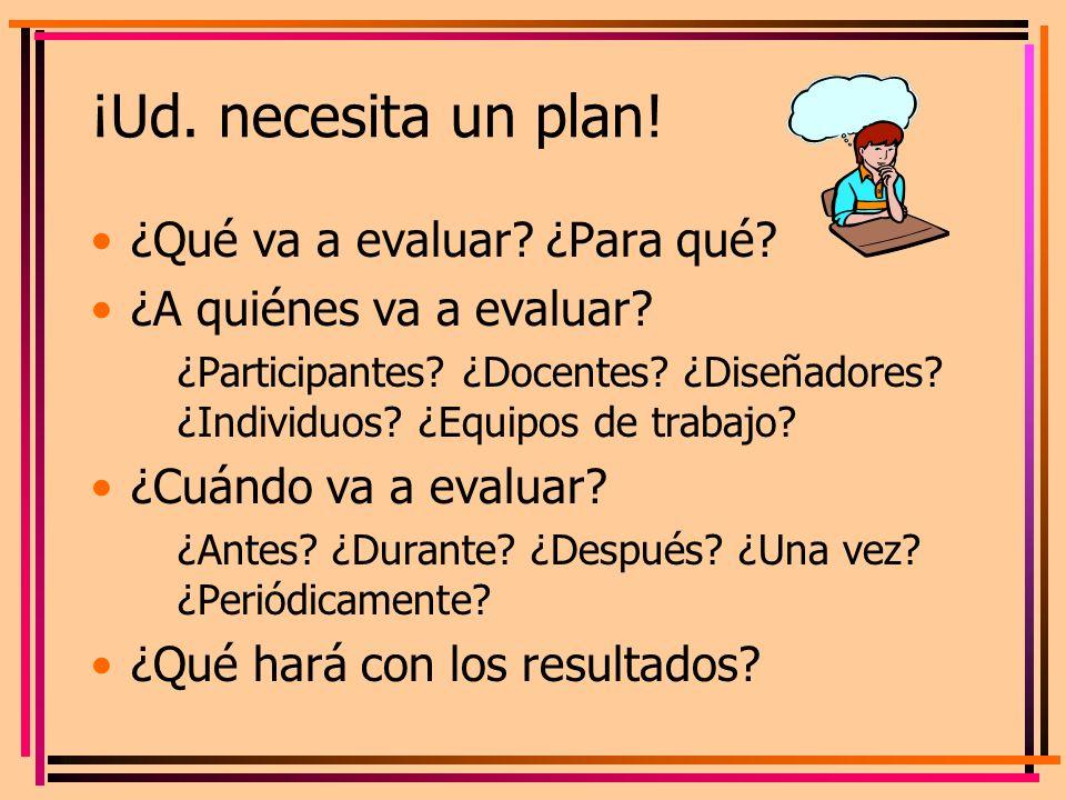 ¡Ud. necesita un plan! ¿Qué va a evaluar? ¿Para qué? ¿A quiénes va a evaluar? ¿Participantes? ¿Docentes? ¿Diseñadores? ¿Individuos? ¿Equipos de trabaj