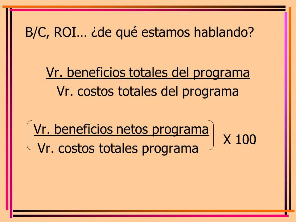 B/C, ROI… ¿de qué estamos hablando? Vr. beneficios totales del programa Vr. costos totales del programa Vr. beneficios netos programa Vr. costos total