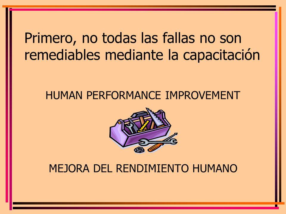 Primero, no todas las fallas no son remediables mediante la capacitación HUMAN PERFORMANCE IMPROVEMENT MEJORA DEL RENDIMIENTO HUMANO