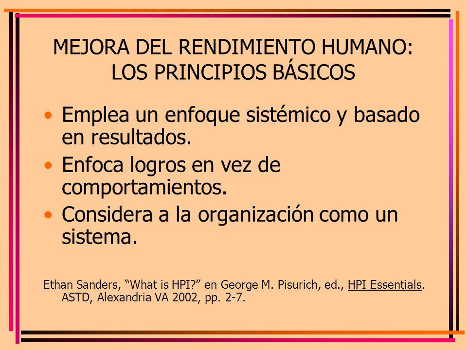 MEJORA DEL RENDIMIENTO HUMANO: LOS PRINCIPIOS BÁSICOS Emplea un enfoque sistémico y basado en resultados. Enfoca logros en vez de comportamientos. Con