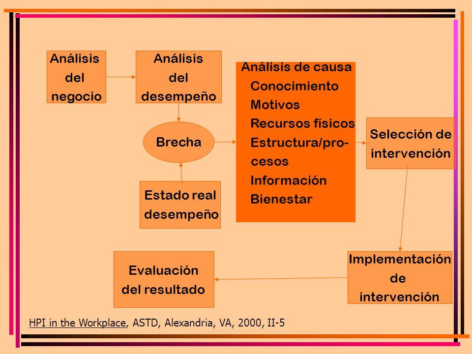 Análisis del negocio Análisis del desempeño Análisis de causa Conocimiento Motivos Recursos físicos Estructura/pro- cesos Información Bienestar Brecha
