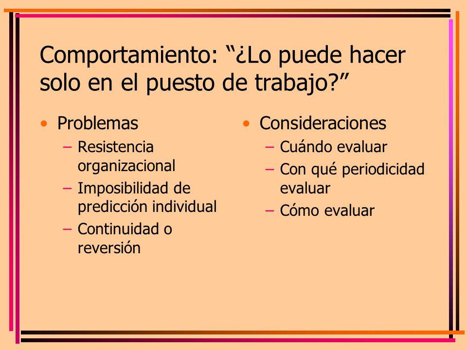 Comportamiento: ¿Lo puede hacer solo en el puesto de trabajo? Problemas –Resistencia organizacional –Imposibilidad de predicción individual –Continuid