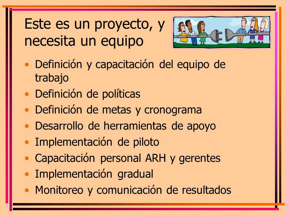 Este es un proyecto, y necesita un equipo Definición y capacitación del equipo de trabajo Definición de políticas Definición de metas y cronograma Des