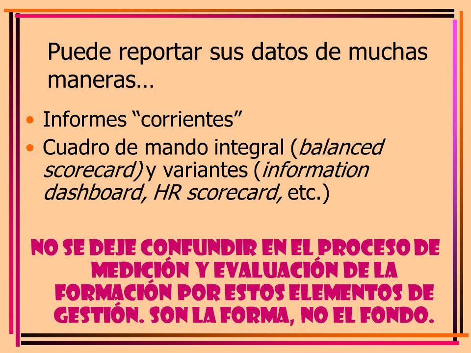 Puede reportar sus datos de muchas maneras… Informes corrientes Cuadro de mando integral (balanced scorecard) y variantes (information dashboard, HR s