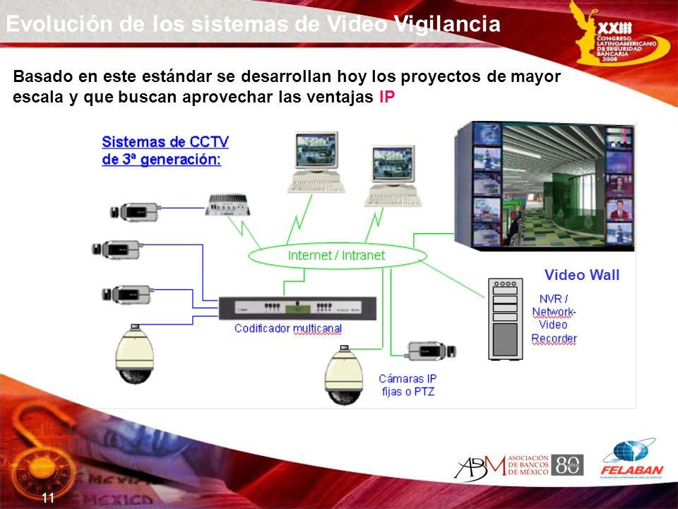 11 Evolución de los sistemas de Video Vigilancia Basado en este estándar se desarrollan hoy los proyectos de mayor escala y que buscan aprovechar las