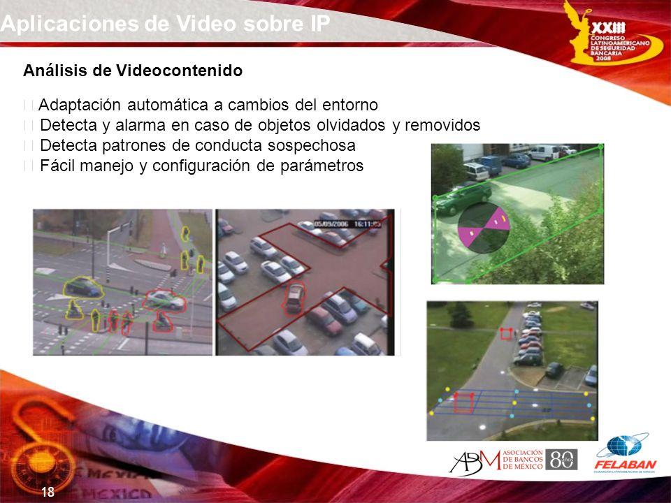 18 Aplicaciones de Video sobre IP Análisis de Videocontenido Adaptación automática a cambios del entorno Detecta y alarma en caso de objetos olvidados