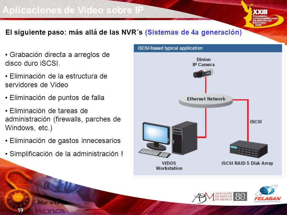 19 Aplicaciones de Video sobre IP El siguiente paso: más allá de las NVR´s (Sistemas de 4a generación) Grabación directa a arreglos de disco duro iSCS