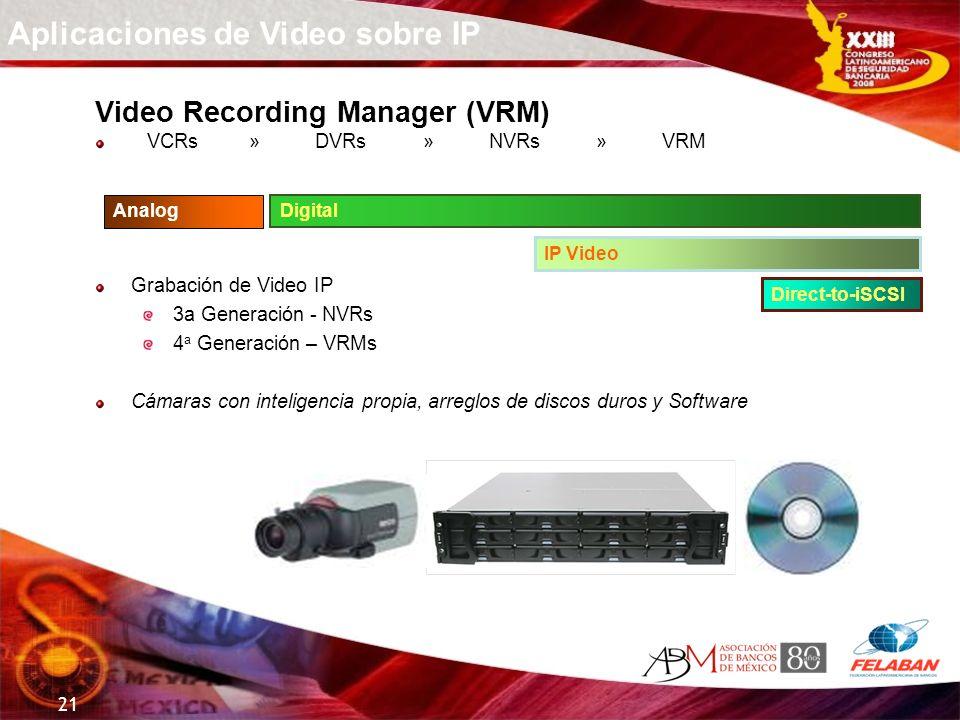 21 Video Recording Manager (VRM) VCRs » DVRs » NVRs » VRM Grabación de Video IP 3a Generación - NVRs 4 a Generación – VRMs Cámaras con inteligencia pr