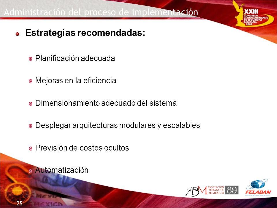 25 Administración del proceso de implementación Estrategias recomendadas: Planificación adecuada Mejoras en la eficiencia Dimensionamiento adecuado de