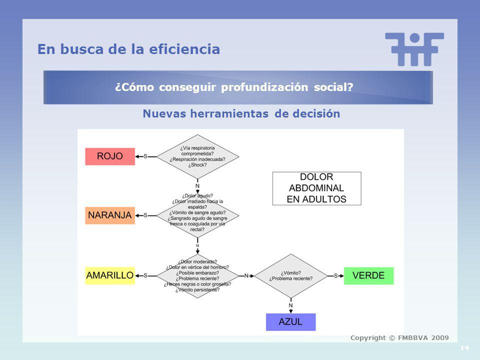 En busca de la eficiencia ¿Cómo conseguir profundización social? Nuevas herramientas de decisión 14 Copyright © FMBBVA 2009