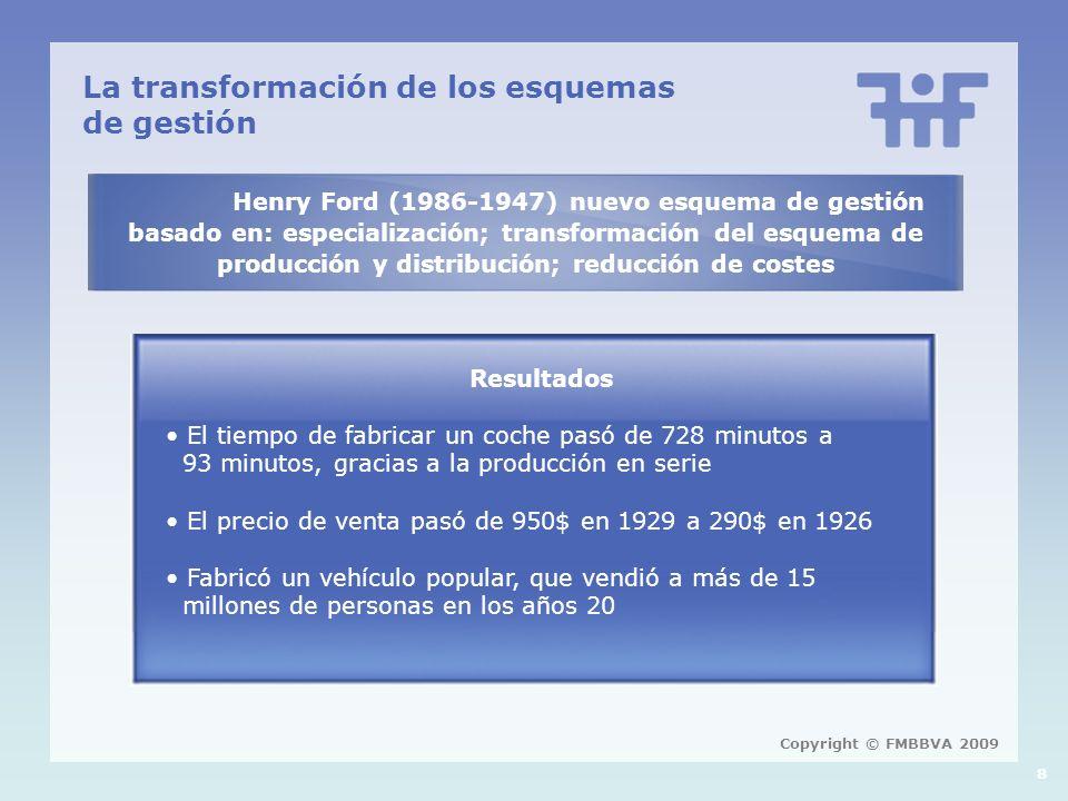 8 La transformación de los esquemas de gestión Henry Ford (1986-1947) nuevo esquema de gestión basado en: especialización; transformación del esquema de producción y distribución; reducción de costes Resultados El tiempo de fabricar un coche pasó de 728 minutos a 93 minutos, gracias a la producción en serie El precio de venta pasó de 950$ en 1929 a 290$ en 1926 Fabricó un vehículo popular, que vendió a más de 15 millones de personas en los años 20 Copyright © FMBBVA 2009
